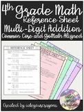4th Grade Math Reference Sheet (Multi-Digit Addition)