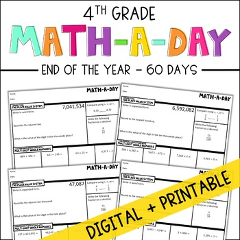 4th Grade Daily Math Spiral Review - Cumulative Review