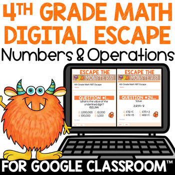 4th Grade Math Review Activity Numbers & Operations NBT Escape Room / Breakout