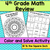 4th Grade Math Review Color and Solve