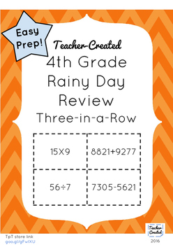 4th Grade Math Review Game