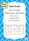 4th Grade Math Decimals and Fractions Review Game