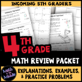 4th Grade Math Review Packet - Back to School Math Packet