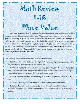 4th Grade Math Review Place Value