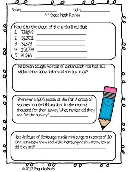 4th Grade Math Review - Place Value, Rounding, Estimation, Addition, Subtraction