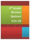 4th Grade Math Review Quizzes #16-20
