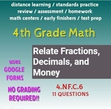 4th Grade Math Review: Relate Fractions, Decimals,and Money: Google Forms