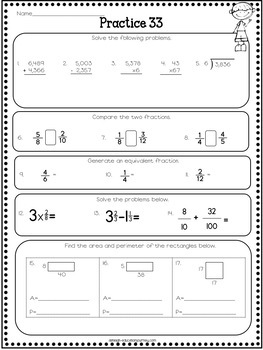 th grade math review  spiral review worksheets by ashleigh  tpt th grade math review  spiral review worksheets