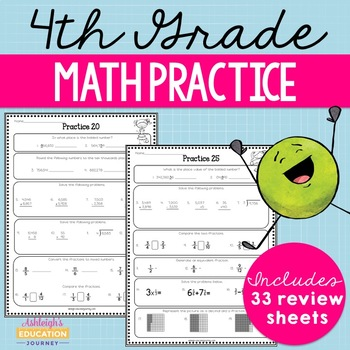 4th Grade Math Review - Spiral Review Worksheets
