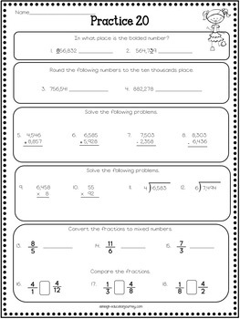 4th Grade Math Review - Spiral Review Worksheets by ...