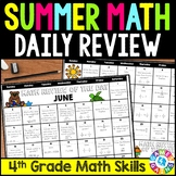 End of the Year 4th Grade Math Review Packet: Summer Problem of the Day