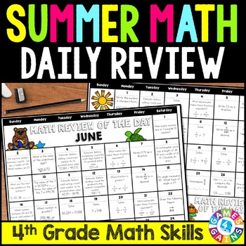 4th Grade Math Review Packets Worksheets & Teaching