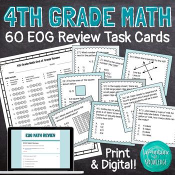 4th Grade Math Review Task Cards - EOG Prep!