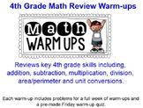 4th Grade Math Review Warm-ups