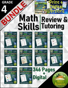 4th Grade Math Skills Review and Tutoring Bundle