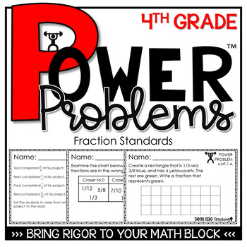 4th Grade Math Rigorous Word Problems Fractions Standards 4.NF