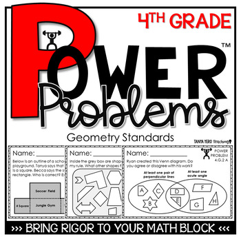 4th Grade Math Rigorous Word Problems Geometry Standards 4.G.1, 4.G.2, 4.G.3