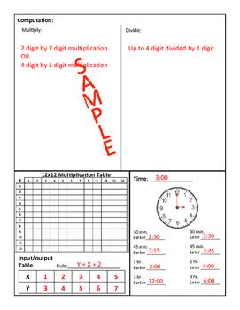 4th Grade Math Routine