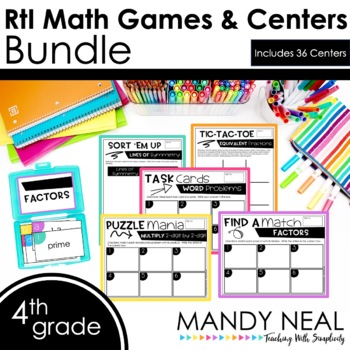4th Grade Math RtI Intervention Games and Centers Growing Bundle
