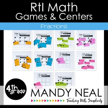 4th Grade Math RtI Intervention Games and Centers for Fractions
