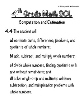 4th Grade Math SOL Notebook - 4.4 Computation and Estimation (Operations)