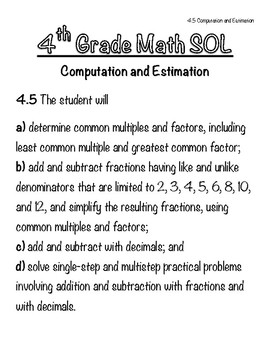 4th Grade Math SOL Notebook - 4.5 Computation & Est.(Add/Sub - Fraction/Decimal)