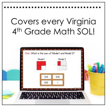 4th Grade Math SOL Review Digital Task Cards Bundle (Boom Cards)