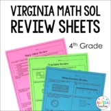 4th Grade Math SOL Review Worksheets (SOL 4.1-4.16)