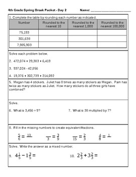 4th Grade Math SPRING BREAK Packet Common Core Covers All Domains