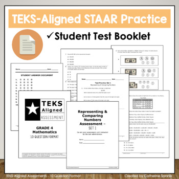 4th Grade Math STAAR Practice BUNDLE - ALL TEKS - 14 Assessments Test Prep