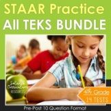 4th Grade Math STAAR Test Prep BUNDLE (ALL TEKS) Review Practice all Standards
