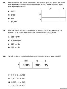 4th Grade Math STAAR Benchmark Assessment based the TEKS