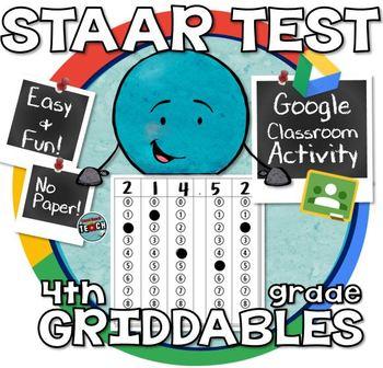 4th Grade Math STAAR  Practice Griddables (Bubble Sheet) G