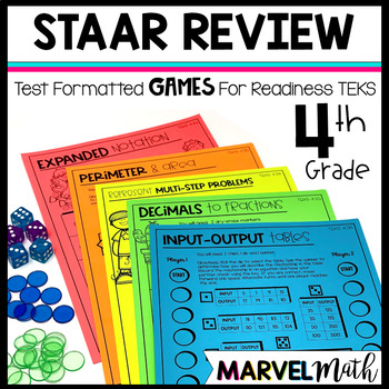 4th Grade Math STAAR Prep: 14 No Prep Games by Marvel Math