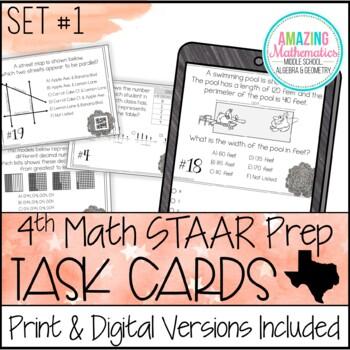 4th Grade Math STAAR Prep - Task Cards