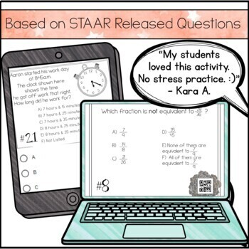 4th Grade Math STAAR Review & Prep - Task Cards