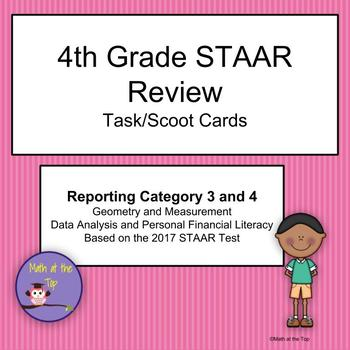 4th Grade Math STAAR Reporting Category 3 and 4 Task/Scoot Cards - 2017 STAAR