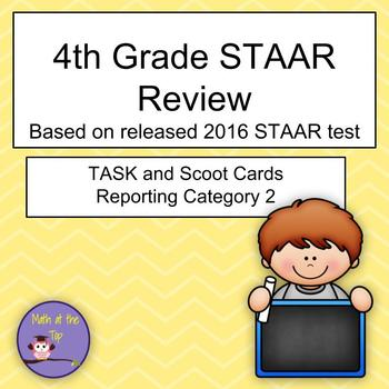 4th Grade Math STAAR Reporting Category 2 based on 2016 STAAR - Task/Scoot Cards