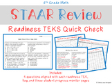 4th Grade Math STAAR Review Readiness TEKS Quick Check