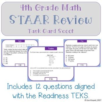 4th Grade Math STAAR Review SCOOT - Mini Set