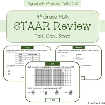 4th Grade Math STAAR Review Task Card Scoot