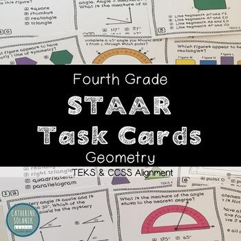 STAAR TASK CARDS TEKS 4.7C 4.6A 4.6B 4.6C 4.7D 4.7E 4TH GRADE GEOMETRY