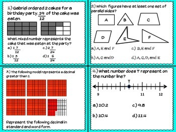 4th Grade Math STAAR TASK Cards SET #2