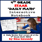 4th Grade STAAR Math Daily Review, Interactive Notebook Covering All Standards