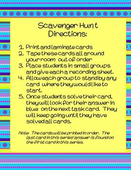 4th Grade Math Scavenger Hunts Converting Measurements in Customary System