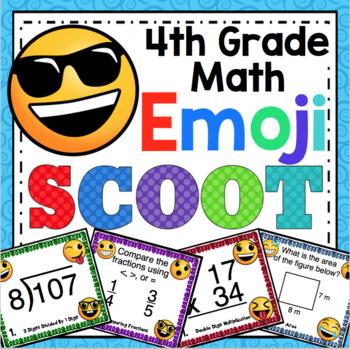 4th Grade Math Skills Scoot - Emoji Themed Mega Math Bundle