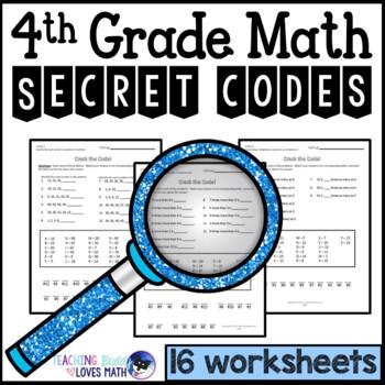Math Secret Code Puzzle Worksheets 4th Grade Common Core