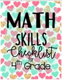 4th Grade Math Skills Checklist (EDITABLE)