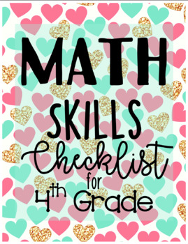 4th Grade Math Skills Checklist (EDITABLE)
