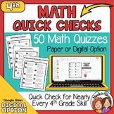 4th Grade Math Skills Quick Checks with digital option Dis